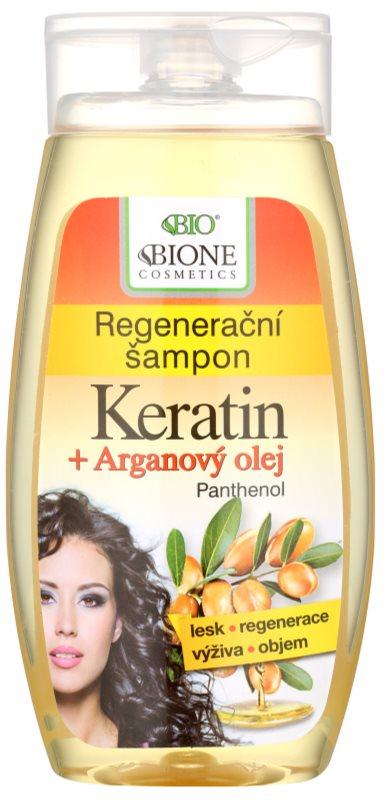 Bione Cosmetics Keratin Argan відновлюючий шампунь для блиску та шовковистості волосся