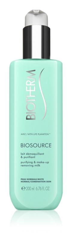 Biotherm Biosource čistilno mleko za odstranjevanje ličil za normalno do mešano kožo