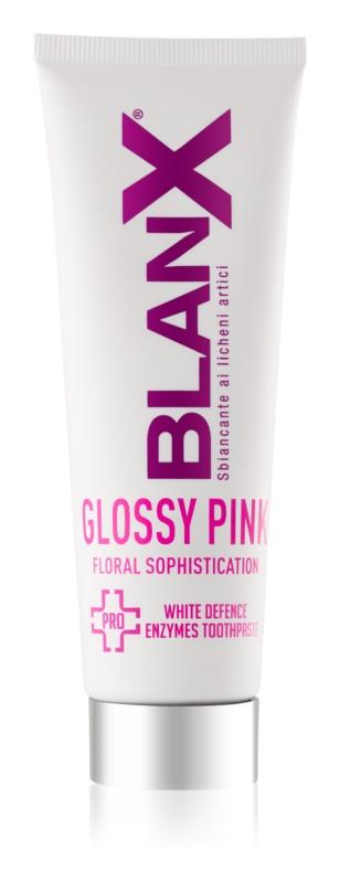BlanX PRO Glossy Pink zobna pasta za beljenje zob proti rumenim madežem
