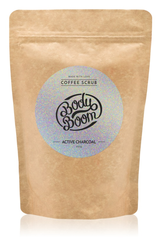 BodyBoom Active Charcoal kávé test peeling