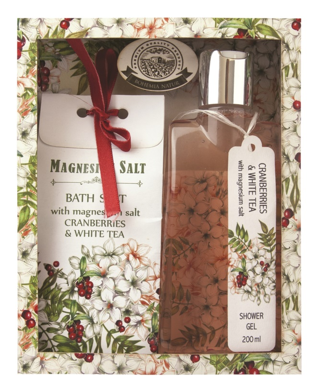 Bohemia Gifts & Cosmetics Magnesium Salt Cranberries & White Tea kozmetická sada I.