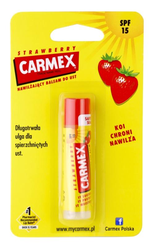 Carmex Strawberry bálsamo hidratante para labios en barra SPF 15