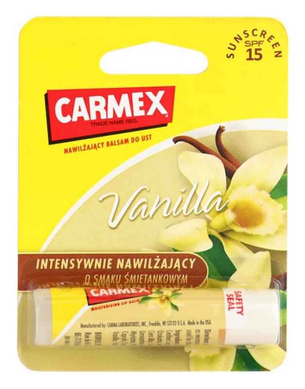 Carmex Vanilla bálsamo hidratante para labios en barra SPF 15