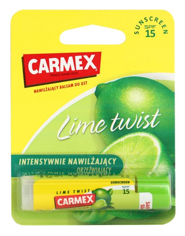 Carmex Lime Twist hydratačný balzam na pery v tyčinke SPF 15