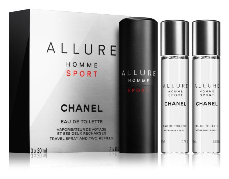 Chanel Allure Homme Sport Eau de Toilette for Men 3 x 20 ml (1x Refillable + 2x Refill)