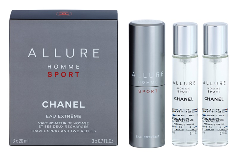 Chanel Allure Homme Sport Eau Extreme toaletní voda pro muže 3 x 20 ml (1x plnitelná + 2x náplň)