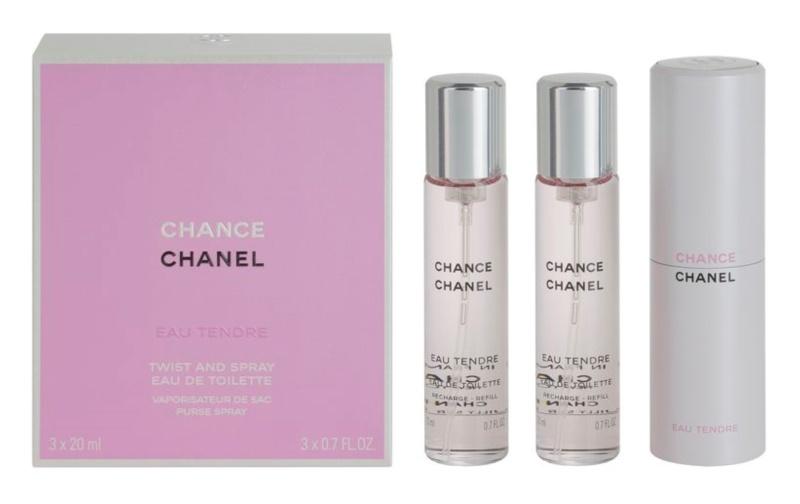 Chanel Chance Eau Tendre eau de toilette nőknek 3 x 20 ml (1x utántölthető + 2x utántöltő)