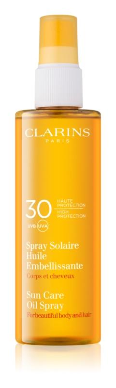 Clarins Sun Protection opaľovací olej na telo a vlasy SPF 30