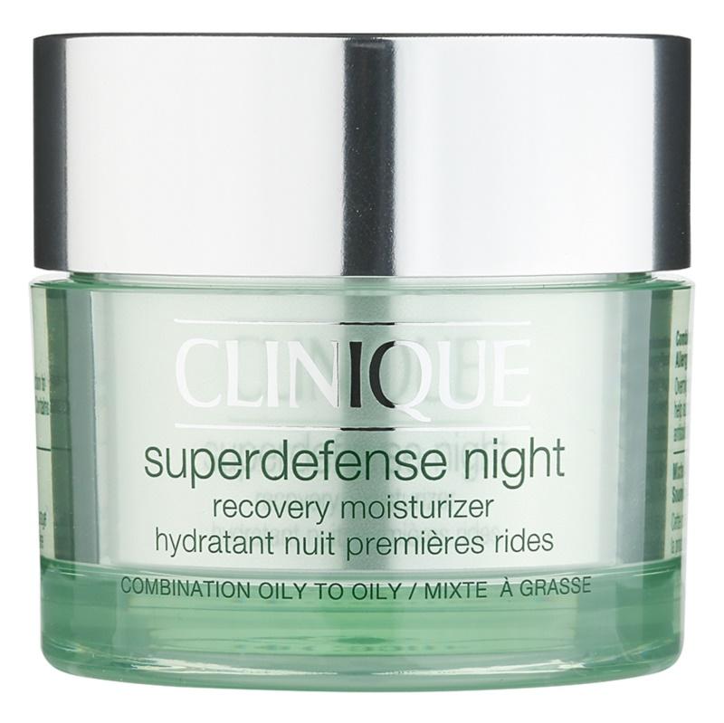 Clinique Superdefense hidratáló éjszakai krém a ráncok ellen kombinált és zsíros bőrre