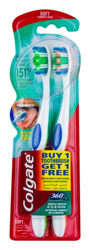 Colgate 360°  Whole Mouth Clean четки за зъби soft 2 бр