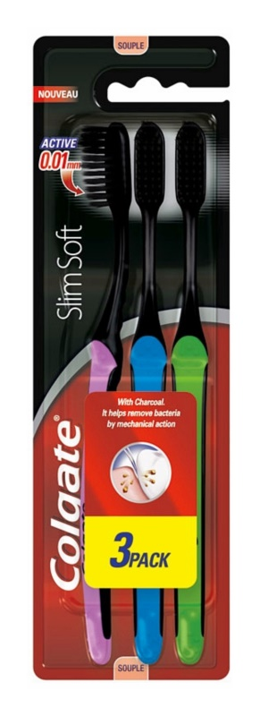 Colgate Slim Soft Active Toothbrushes with Activated Charcoal - Soft 3 pcs