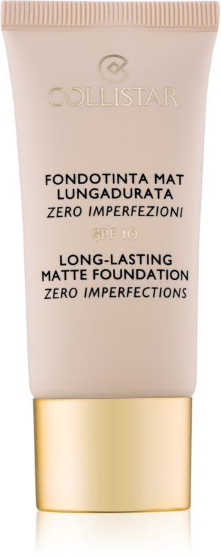 Collistar Foundation Zero Imperfections dlouhotrvající matující make-up SPF 10