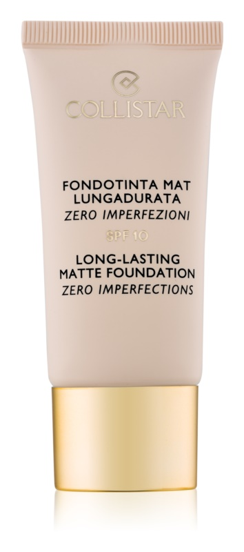 Collistar Foundation Zero Imperfections machiaj matifiant de lungă durată SPF 10