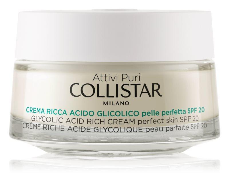 Collistar Pure Actives Glycolic Acid výživný krém pro obnovu hutnosti pleti s rozjasňujícím efektem