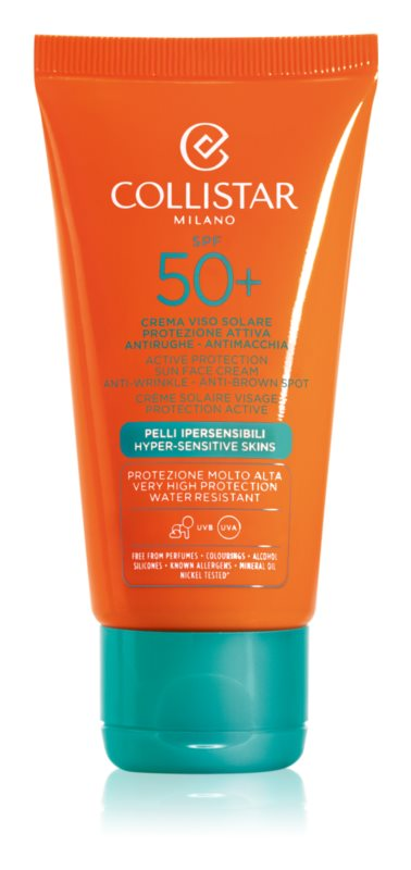 Collistar Sun Protection крем проти зморшок для засмаги SPF 50+