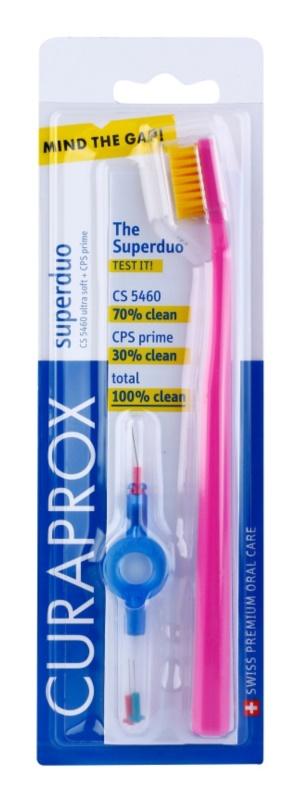 Curaprox 5460 Ultra Soft Superduo cepillo de dientes + cepillos interdentales de recambio con soporte