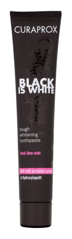 Curaprox Black is White pastă de dinți pentru albire cu cărbune activ și hidroxiapatită