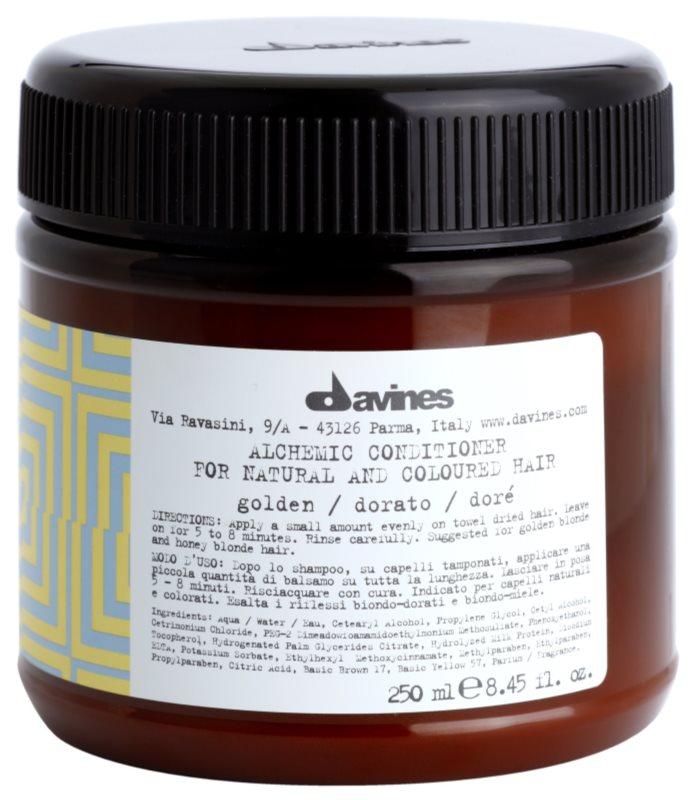 Davines Alchemic Golden vlažilni balzam za intenzivnost barve las