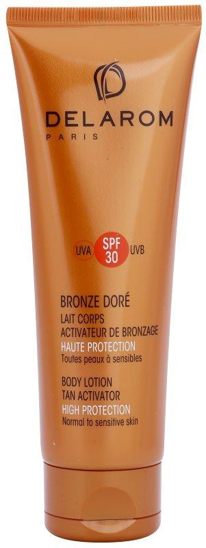 Delarom Bronze Doré loção corporal protetor com ativador de bronzeamento SPF 30