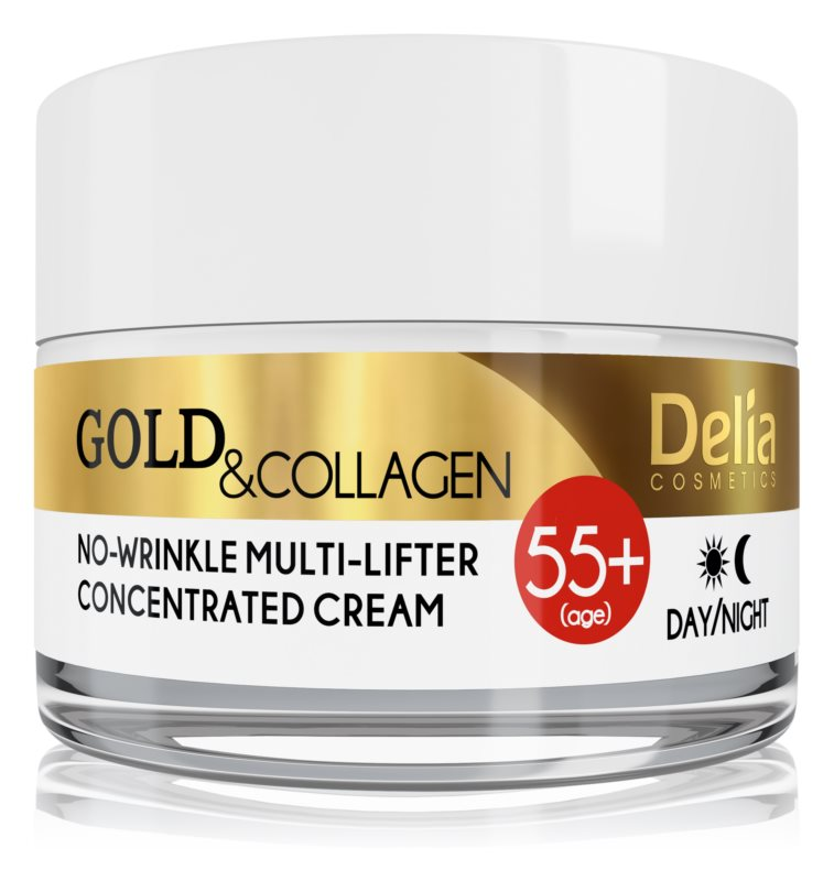 Delia Cosmetics Gold & Collagen 55+ Anti-Faltencreme mit Lifting-Effekt