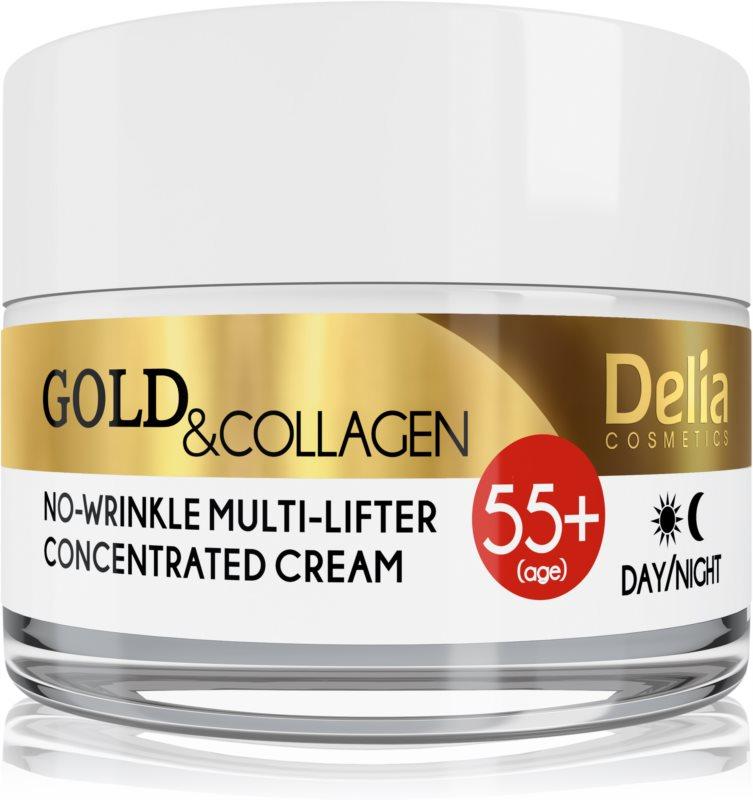 Delia Cosmetics Gold & Collagen 55+ krema proti gubam z učinkom liftinga