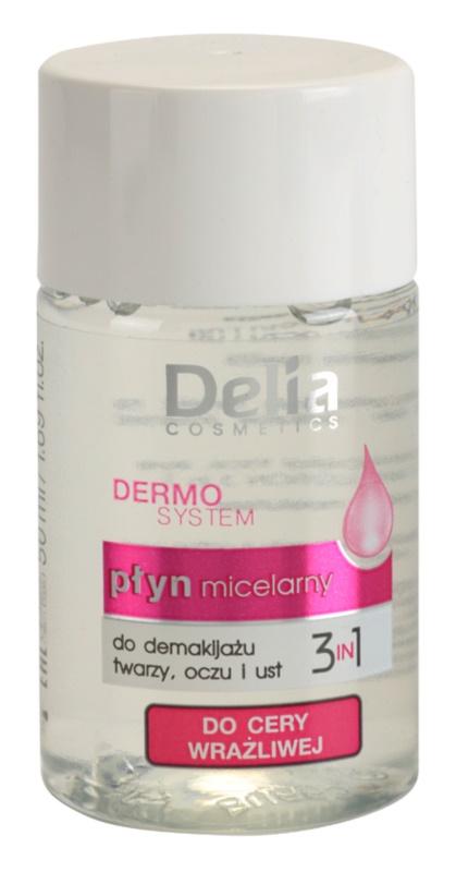 Delia Cosmetics Dermo System agua micelar limpiadora para contorno de ojos y labios 3 en 1