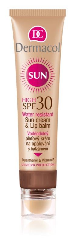 Dermacol Sun Water Resistant creme solar resistente à água com bálsamo de lábios SPF 30