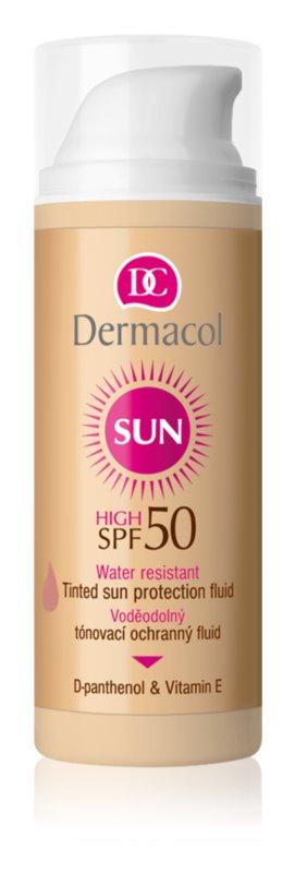 Dermacol Sun Water Resistant fluido facial com cor à prova de água SPF 50