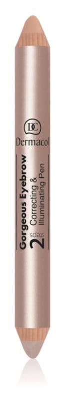 Dermacol Gorgeous Eyebrow коректор та освітлювач під брови 2 в 1
