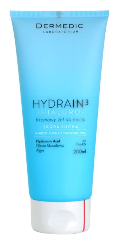 Dermedic Hydrain3 Hialuro gel de limpeza cremoso para pele seca desidratada