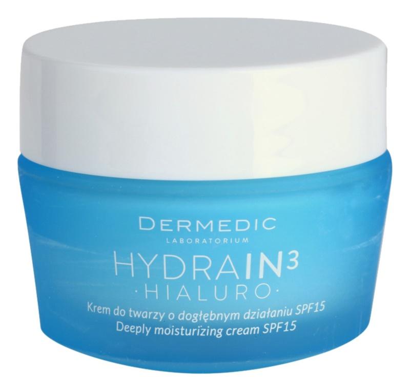 Dermedic Hydrain3 Hialuro tiefenwirksame feuchtigkeitsspendende Creme LSF 15
