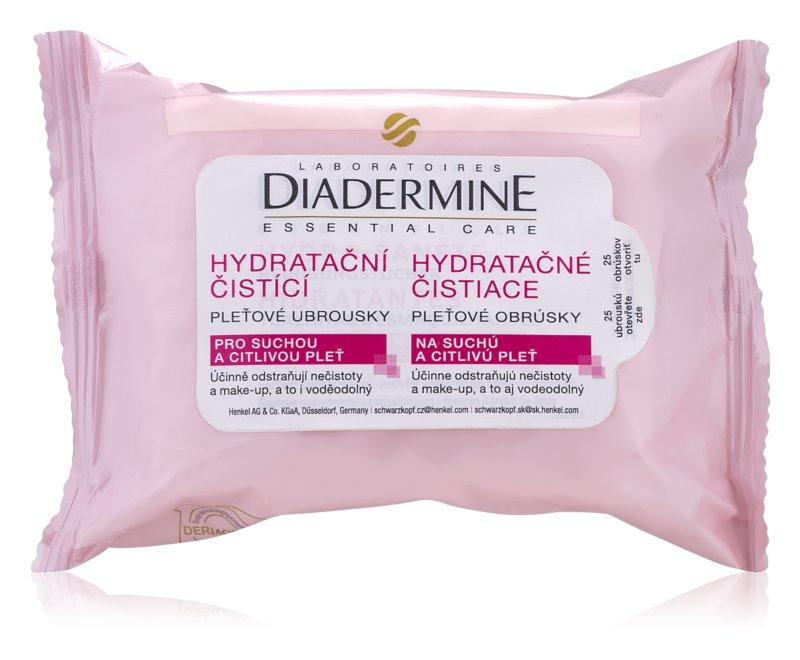 Diadermine Essentials čistilni robčki za obraz za občutljivo in suho kožo