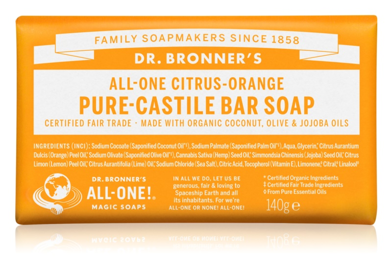 Dr. Bronner's Citrus & Orange tuhé mydlo