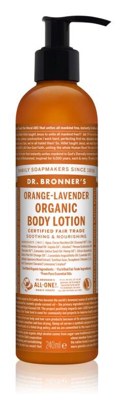 Dr. Bronner's Orange & Levender vyživujúce hydratačné telové mlieko