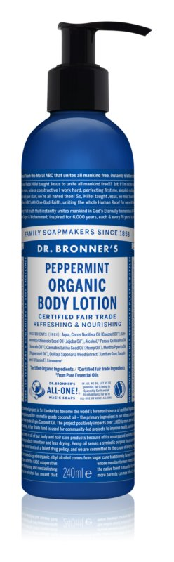 Dr. Bronner's Peppermint Refreshing Body Lotion with Moisturizing Effect