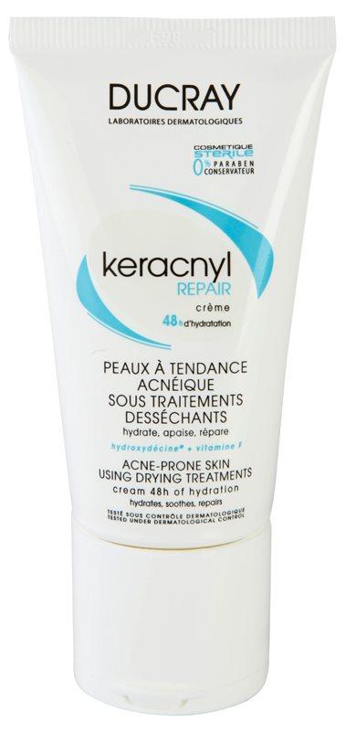 Ducray Keracnyl crème hydratante régénérante pour peaux sèches et irritées après un traitement anti-acné