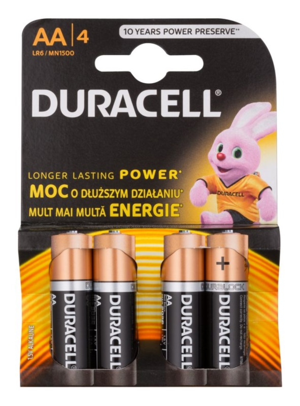 Duracell 1,5 V Alkaline Baterii AA, 4 bucăți