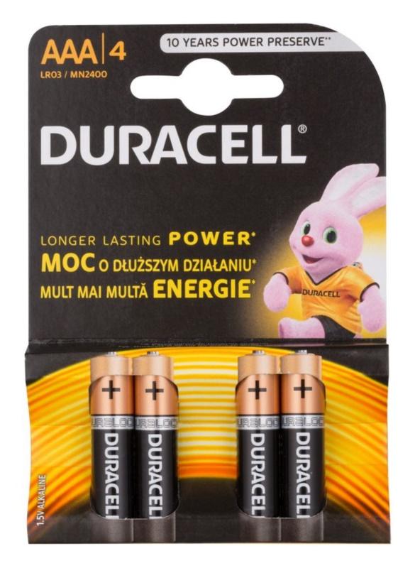 Duracell 1,5 V Alkaline AAA baterije 4 kos