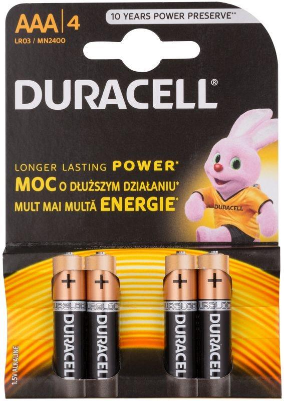 Duracell 1,5 V Alkaline AAA mikrotužková baterie 4 ks