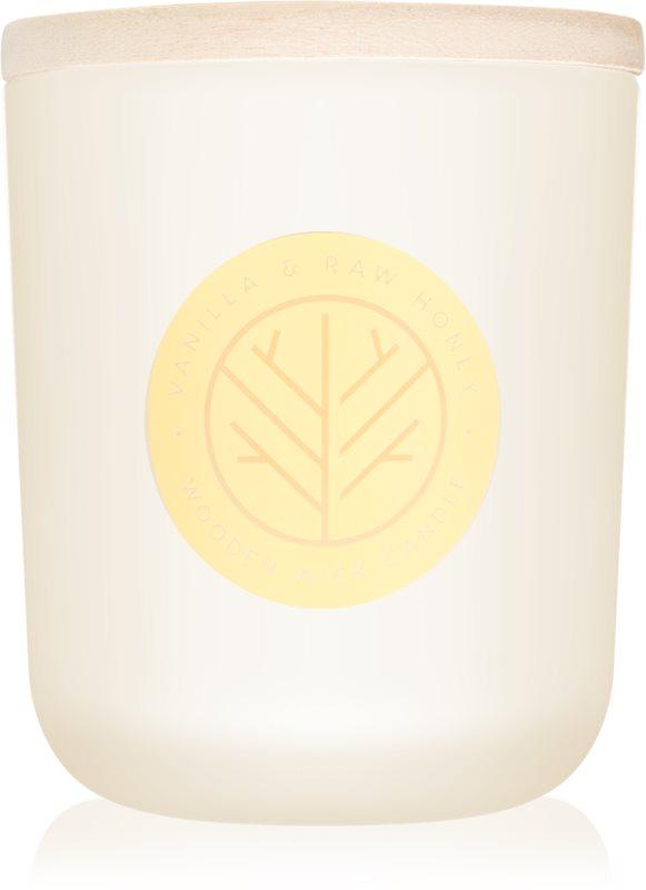 DW Home Vanilla & Raw Honey Geurkaars 320,49 gr met een houten lont