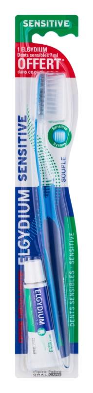 Elgydium Sensitive zubní kartáček + mini zubní pasta