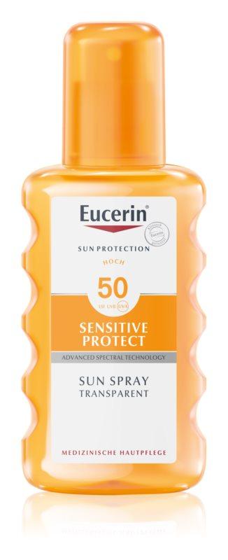 Eucerin Sun Sensitive Protect zaščitno pršilo za sončenje SPF 50