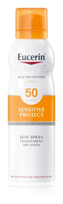 Eucerin Sun Sensitive Protect transparentná hmla na opaľovanie SPF 50