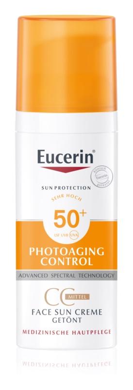 Eucerin Sun Photoaging Control cremă CC pentru bronzat SPF 50+