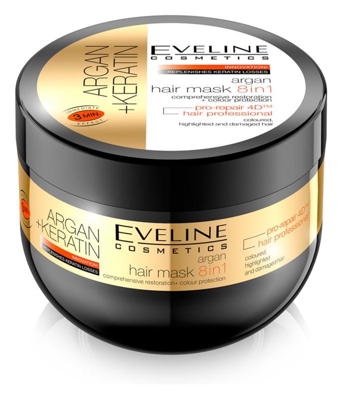 Eveline Cosmetics Argan + Keratin vlasová maska 8 v 1