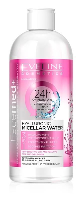 Eveline Cosmetics FaceMed+ apă micelară cu acid hialuronic 3 in 1