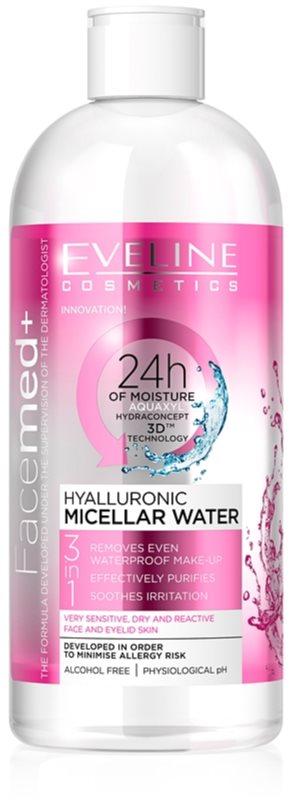 Eveline Cosmetics FaceMed+ hyaluronová micelární voda 3 v 1