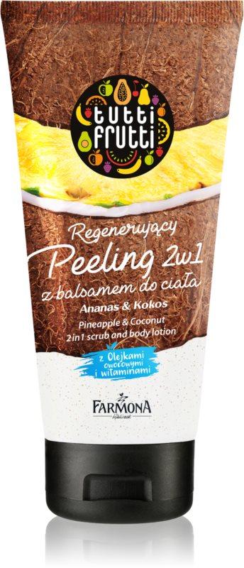 Farmona Tutti Frutti Pineapple & Coconut Shower Body Scrub and Lotion 2 In 1