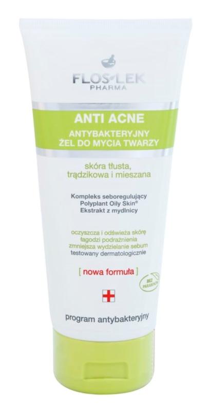 FlosLek Pharma Anti Acne gel nettoyant antibactérien sans parabène