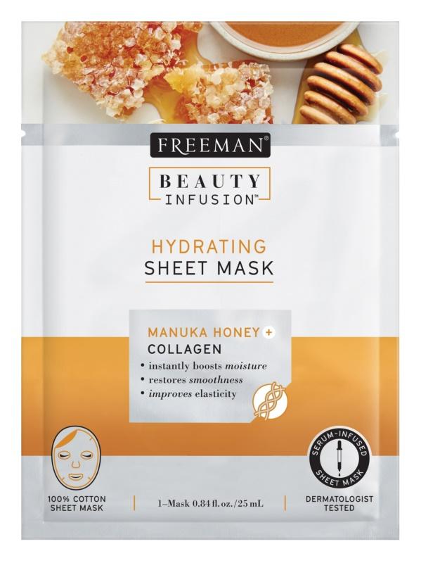 Freeman Beauty Infusion Manuka Honey + Collagen hydratační látková maska pro všechny typy pleti
